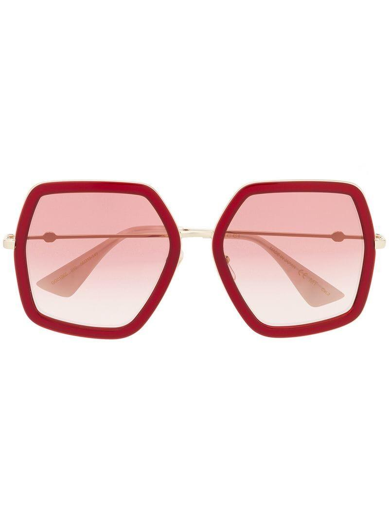 9fdb380a2a1 Gucci Oversize Square-frame Sunglasses in Red - Save 6% - Lyst