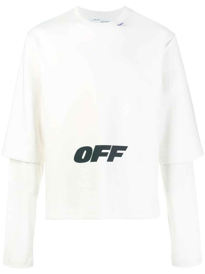 e615cb8b44ad Off-White c o Virgil Abloh Printed Layered Sweatshirt in White for ...