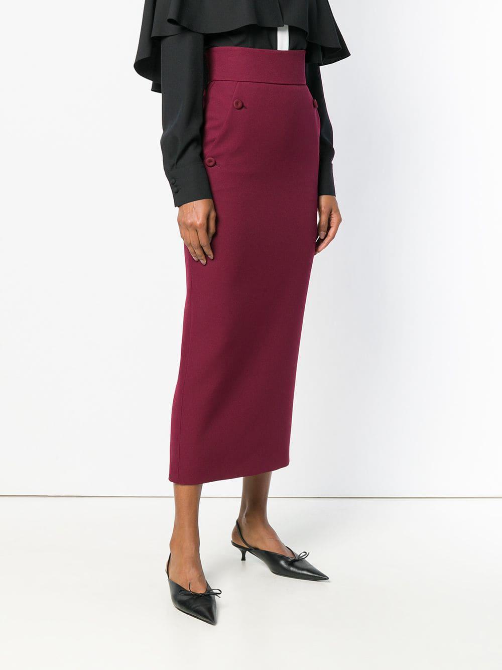 05cb9e5e98df Sara Battaglia - Red High Waisted Pencil Skirt - Lyst. View fullscreen