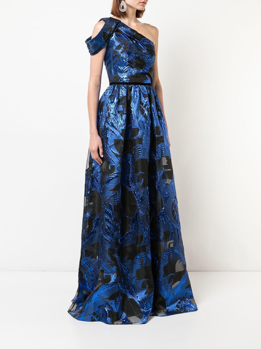 a99baf89 Marchesa notte - Blue One Shoulder Metallic Fils Coupe Gown - Lyst. View  fullscreen