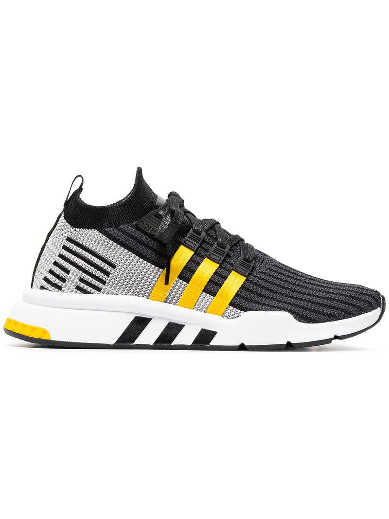 online store 597ad 38255 adidas. Mens Black And Yellow Eqt Support Mid Adv Primeknit Sneakers