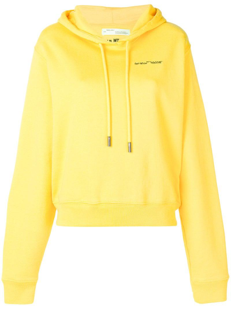a548caf429dc Off-White c o Virgil Abloh. Women s Yellow Logo Embroidered Cropped Long  Sleeve Cotton Hoodie