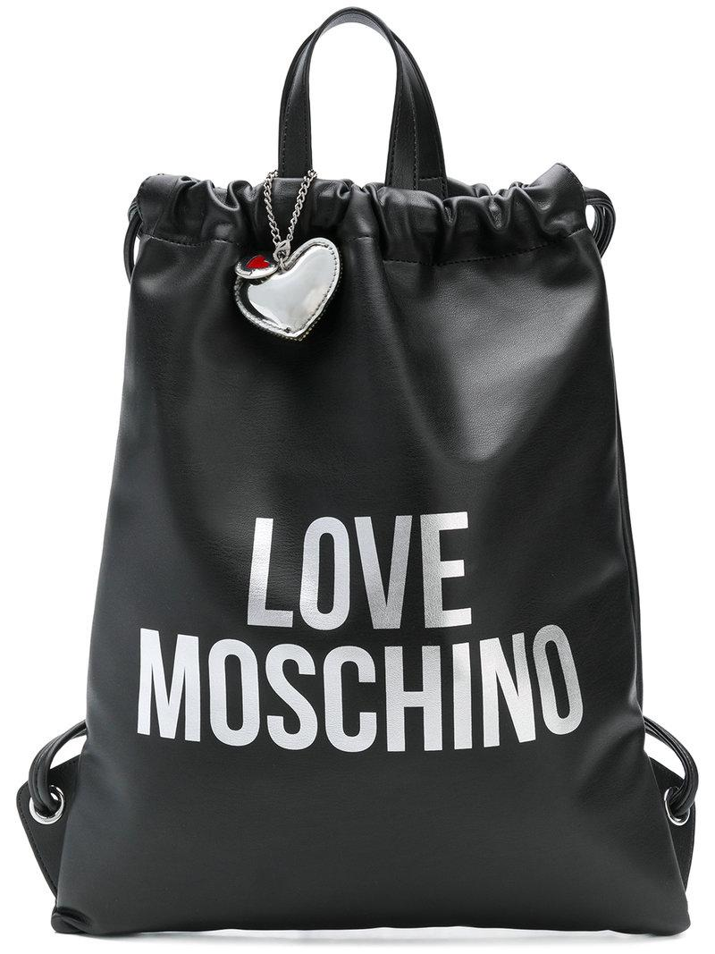 a6ff5848438b3a Love Moschino - Black Love Drawstring Backpack - Lyst. View fullscreen