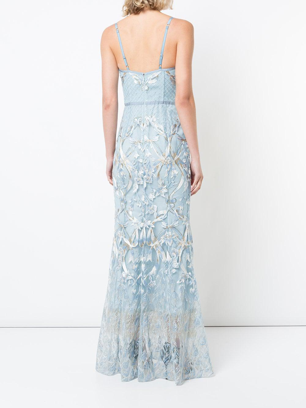 Lyst - Marchesa Notte Embroidered Corset Gown in Blue