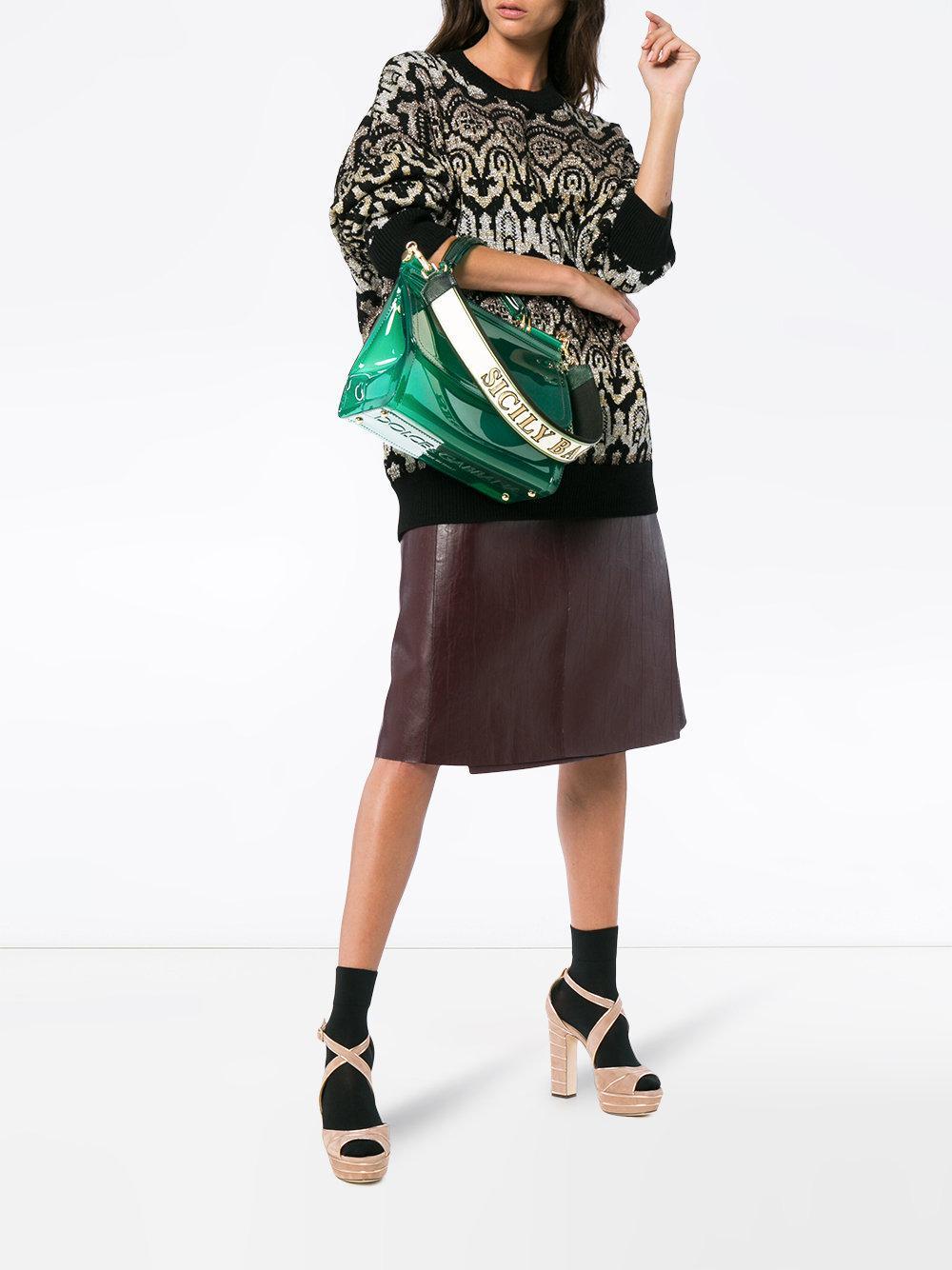 284bbddf84 Lyst - Dolce   Gabbana Transparent Sicily Shoulder Bag in Green - Save 53%