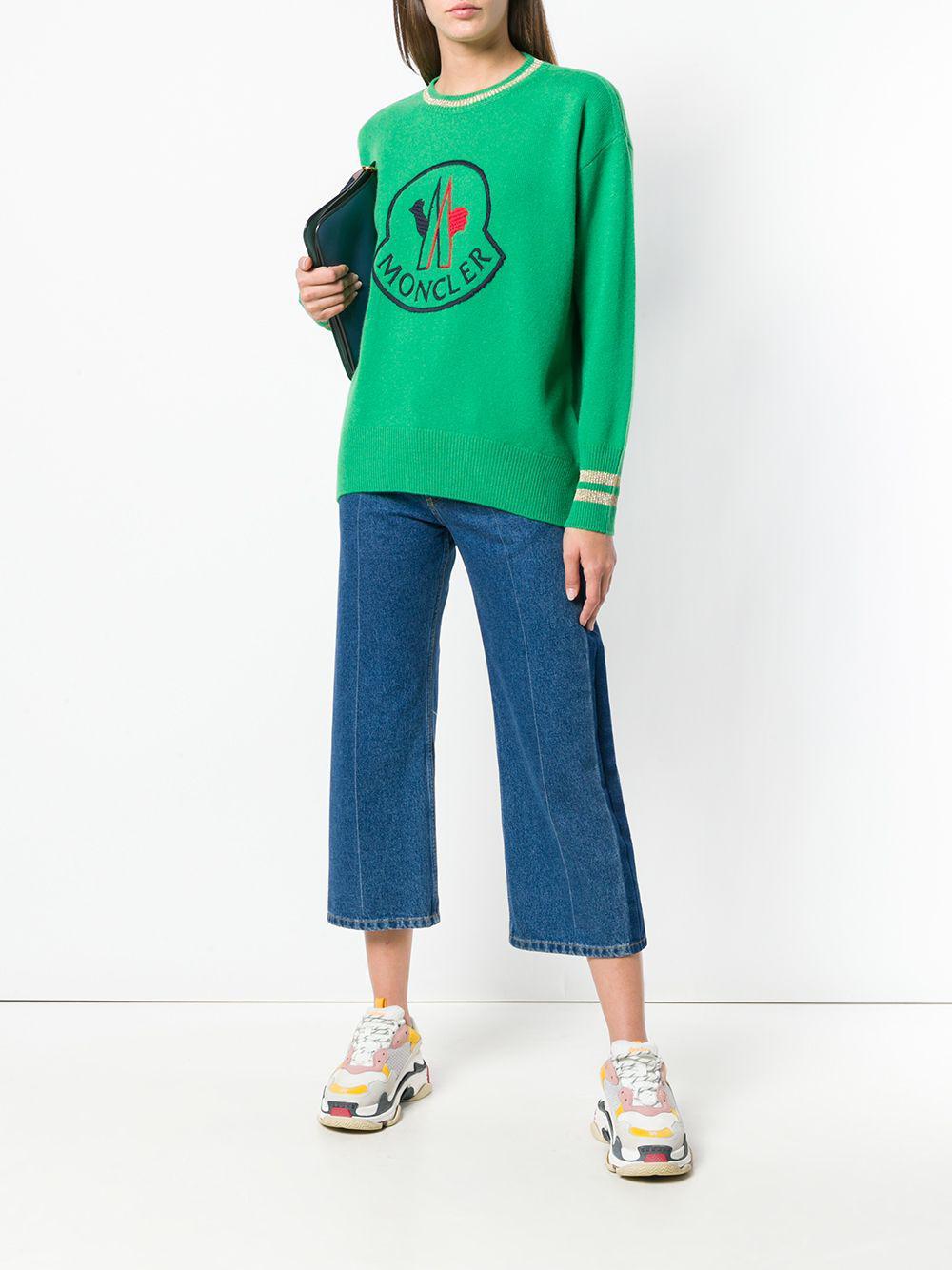 Moncler - Green Logo Intarsia Knit Jumper - Lyst. View fullscreen