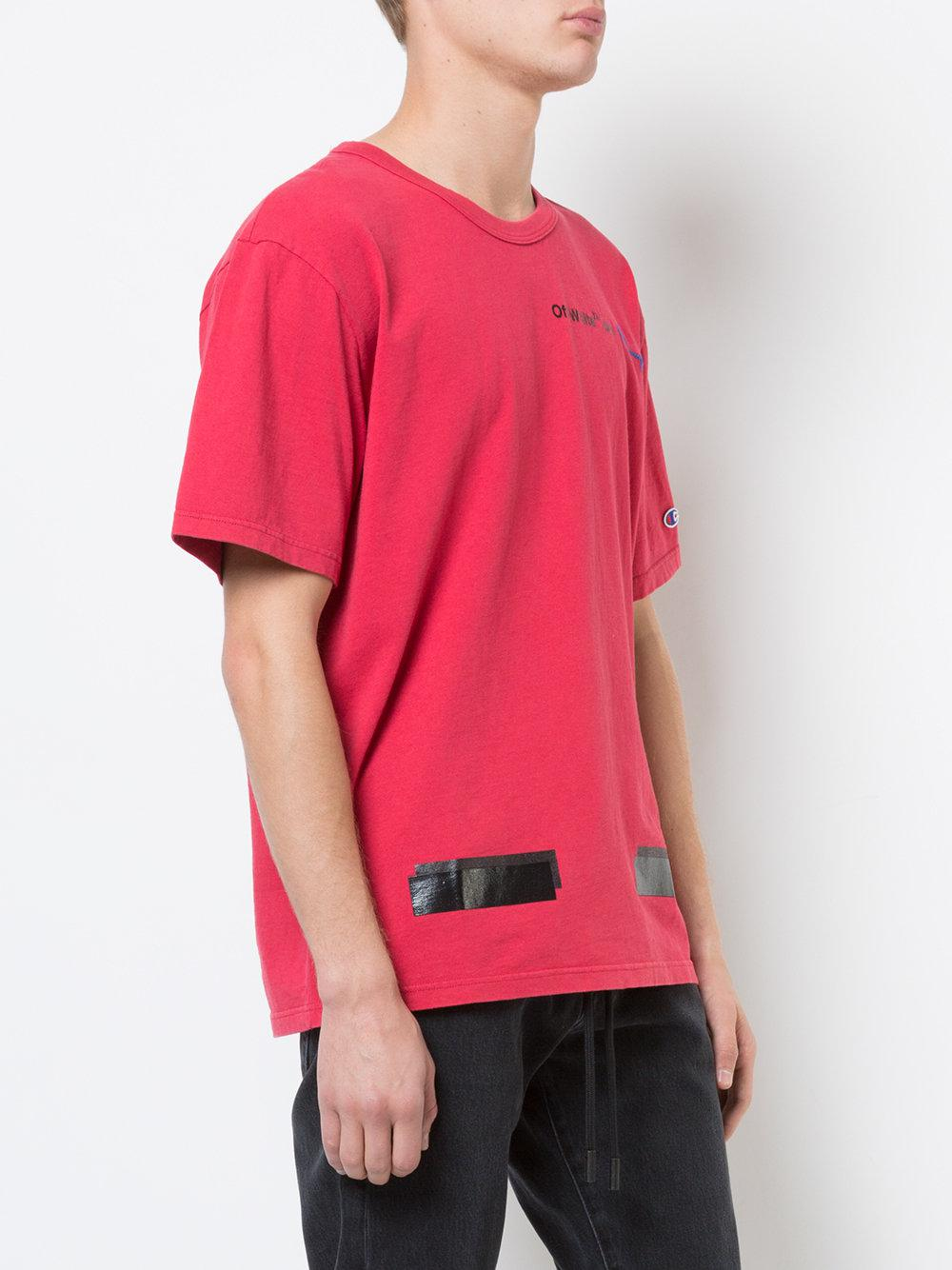 871e094f Off-White c/o Virgil Abloh Champion Arrows T-shirt in Red for Men - Lyst