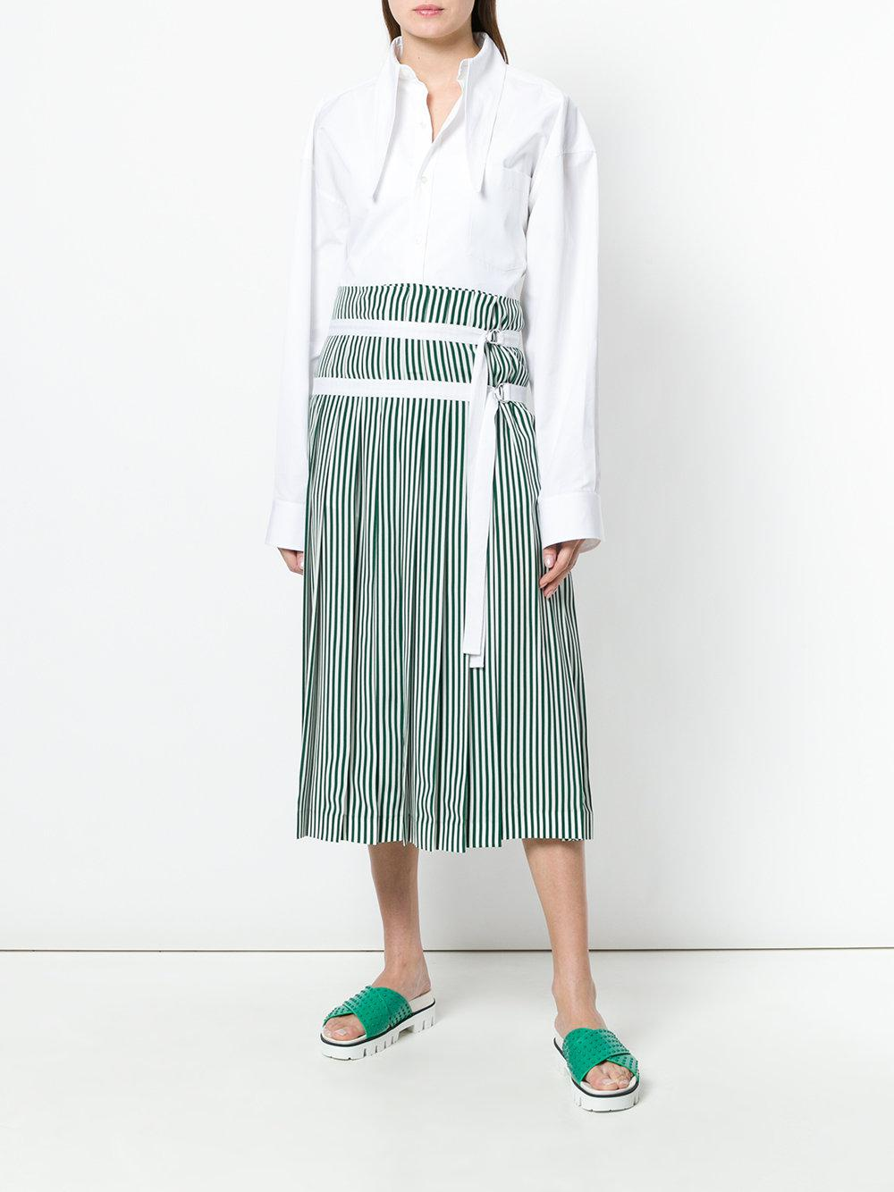 bf662a5068 JOSEPH Striped Pleated Skirt With Double Belt Detail in Green - Save 32% -  Lyst