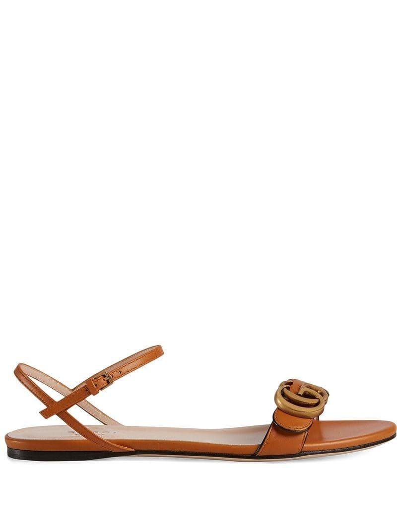 a301ff389 Gucci Leather Sandal With Double G in Orange - Lyst