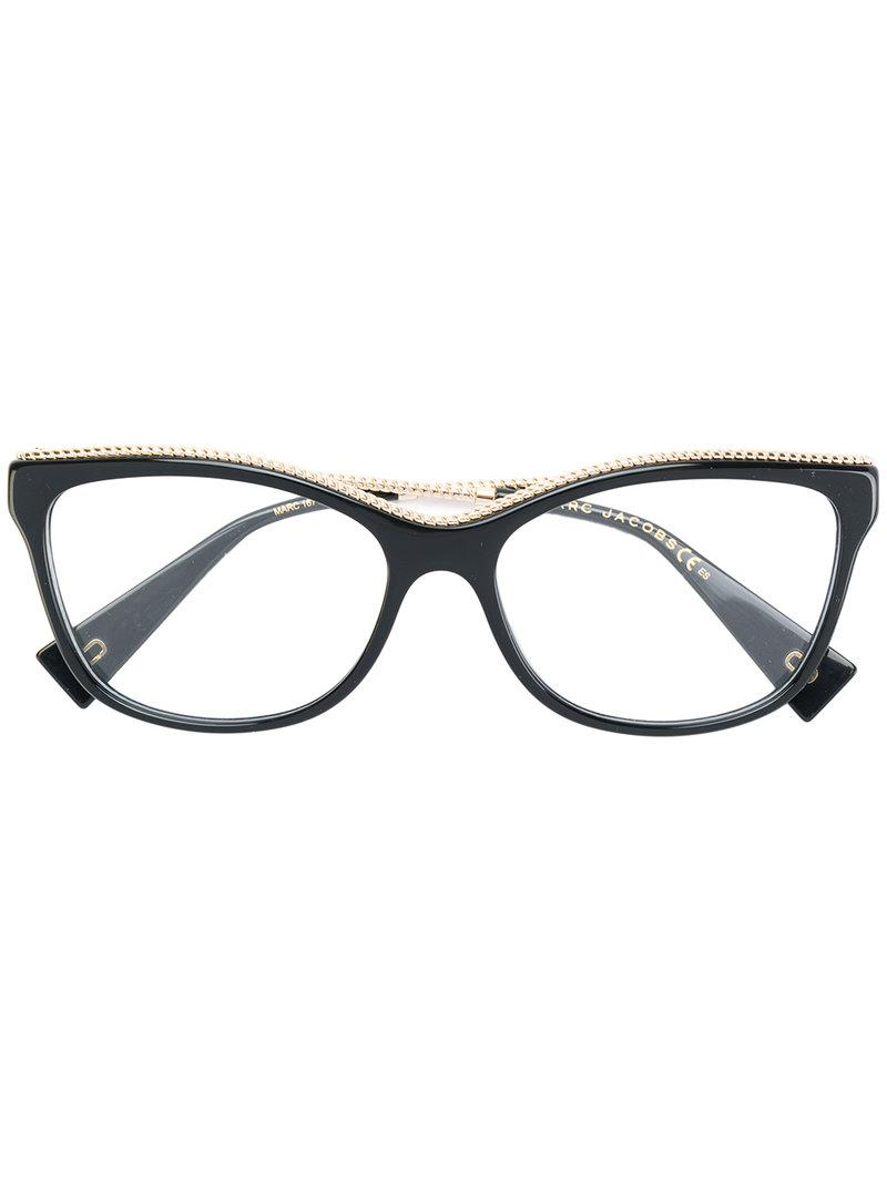 c23b6a50e375a Lyst - Marc Jacobs Embellished Cat Eye Glasses in Black