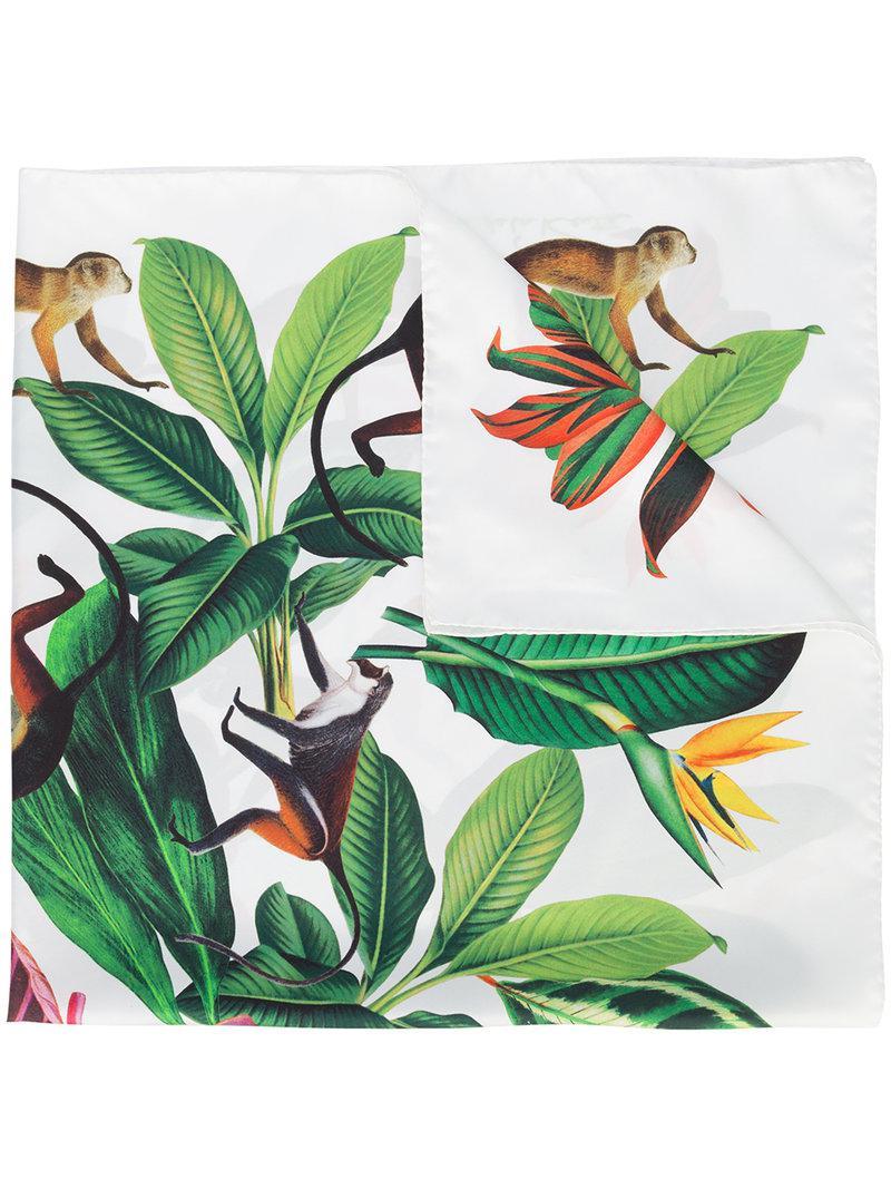 Jungle Foulard En Twill Imprimé - Blanc Oscar De La Renta DvkkOrWbaM