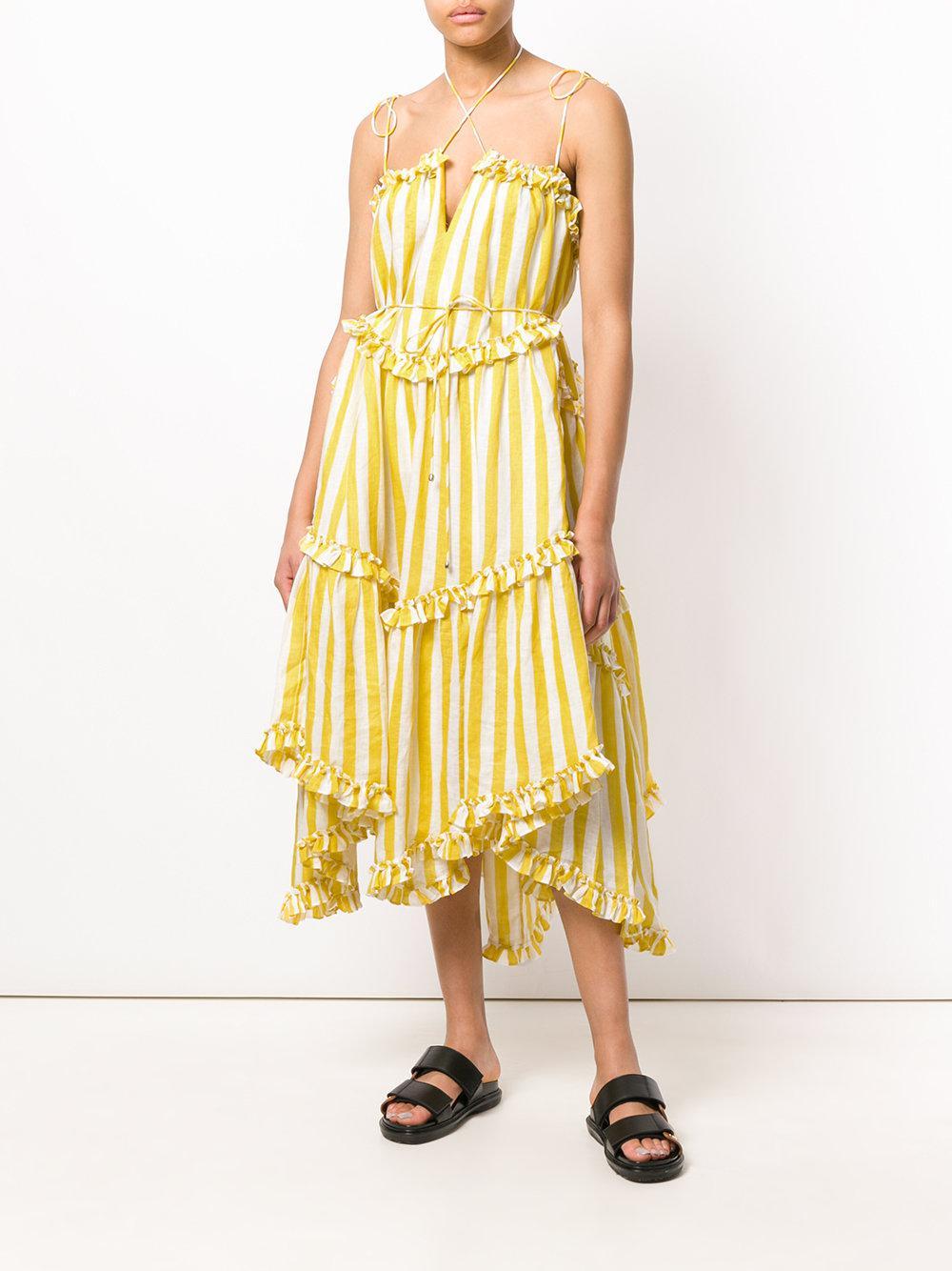 Zimmermann Ruffle Trim Striped Dress In Yellow Lyst