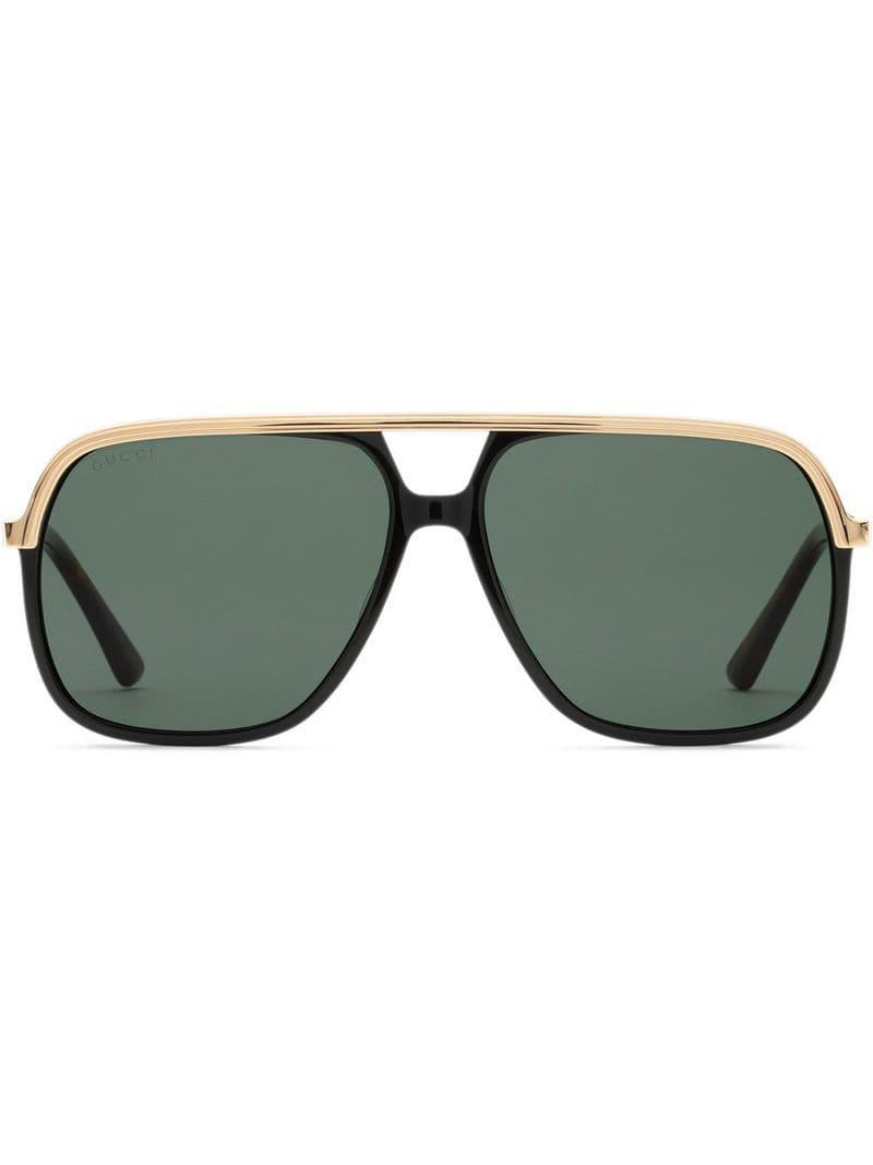 8bda1f3226 Lyst - Gucci Rectangular-frame Metal Sunglasses in Black for Men