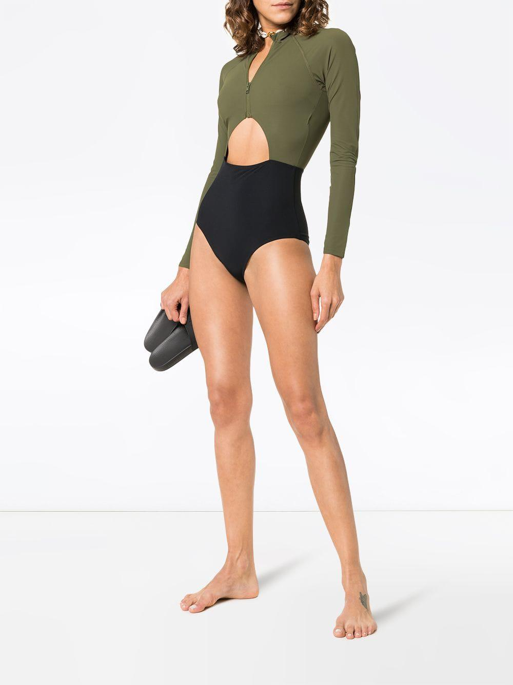 1557a8255ace0 Flagpole Swim - Green Kelly High-neck Zip Front Long-sleeved Swimsuit -  Lyst. View fullscreen