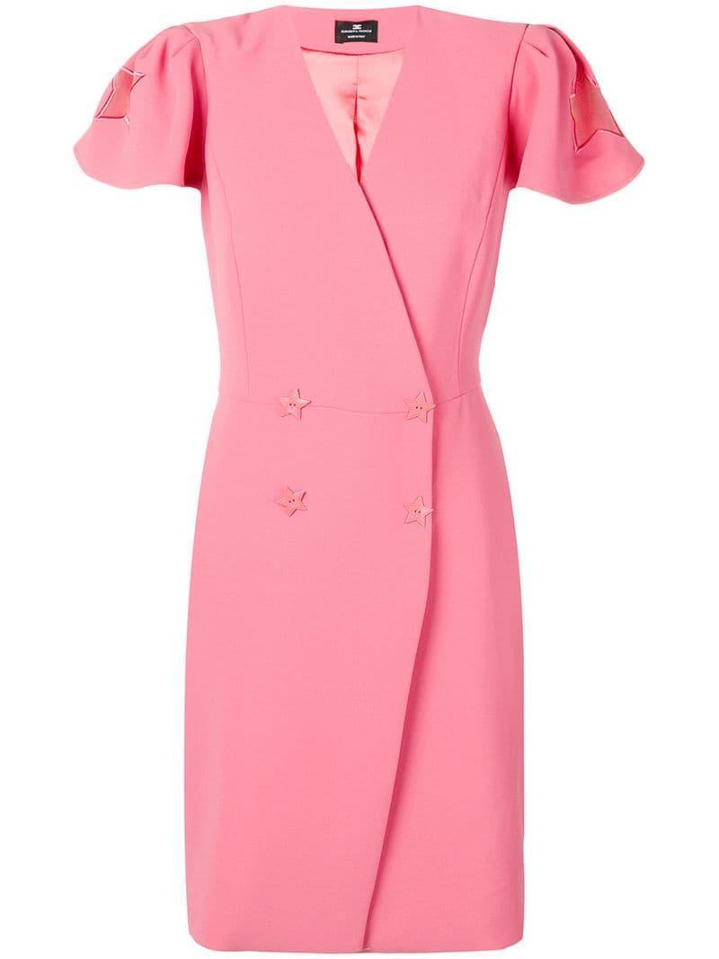 3a0b2a6e1d198 Lyst - Elisabetta Franchi Star Detail Dress in Pink