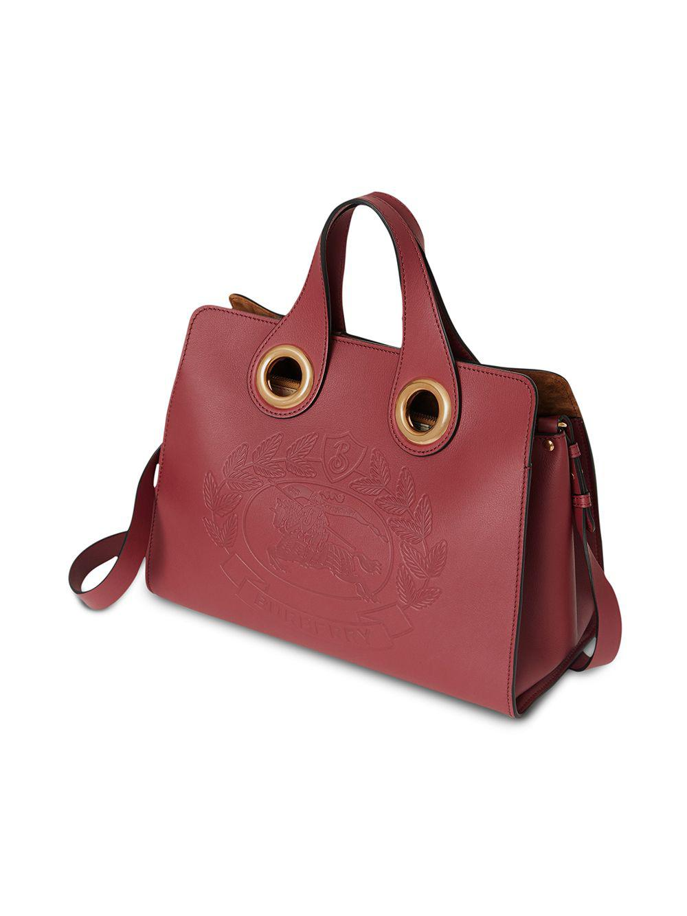 016c67eae157 Burberry - Red The Leather Crest Grommet Detail Tote - Lyst. View fullscreen