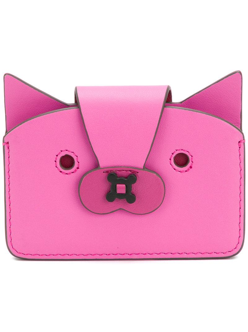 purple leather Fox Multi Card Case Anya Hindmarch