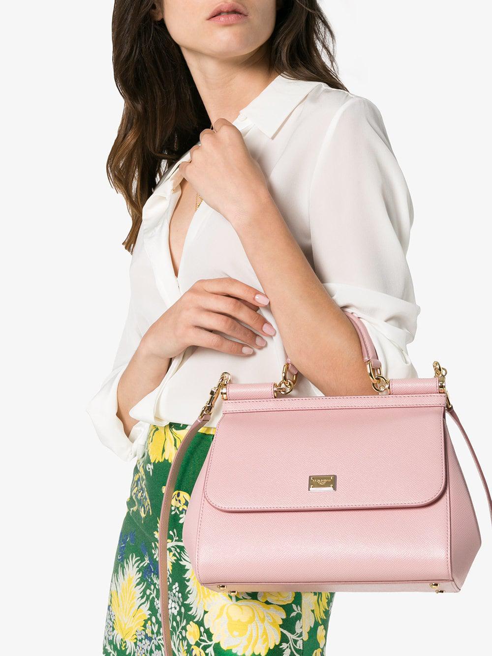6c3d3242b11f Dolce   Gabbana - Pink Sicily Medium Leather Tote - Lyst. View fullscreen