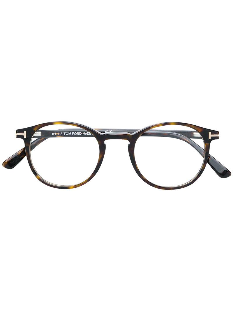 9d37b4bf384 Tom Ford Round Shaped Glasses in Brown - Lyst