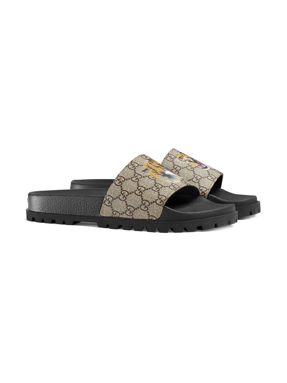 330520e7765d0d Gucci - Brown GG Supreme Tiger Slide Sandal for Men - Lyst. View fullscreen