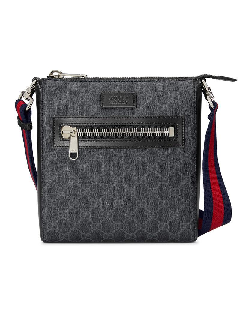 29772ecf9001c2 Gucci GG Supreme Small Messenger Bag in Black for Men - Lyst