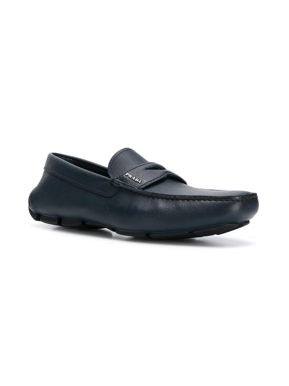 ee5e14f580e Lyst - Prada Square Toe Loafers in Blue for Men