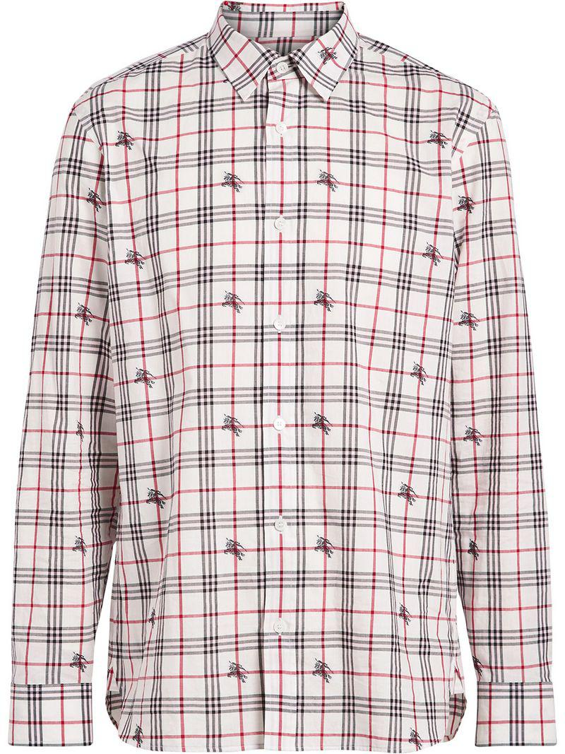 9d91ae2a38a Burberry - White Fil Coupé Check Cotton Shirt for Men - Lyst. View  fullscreen