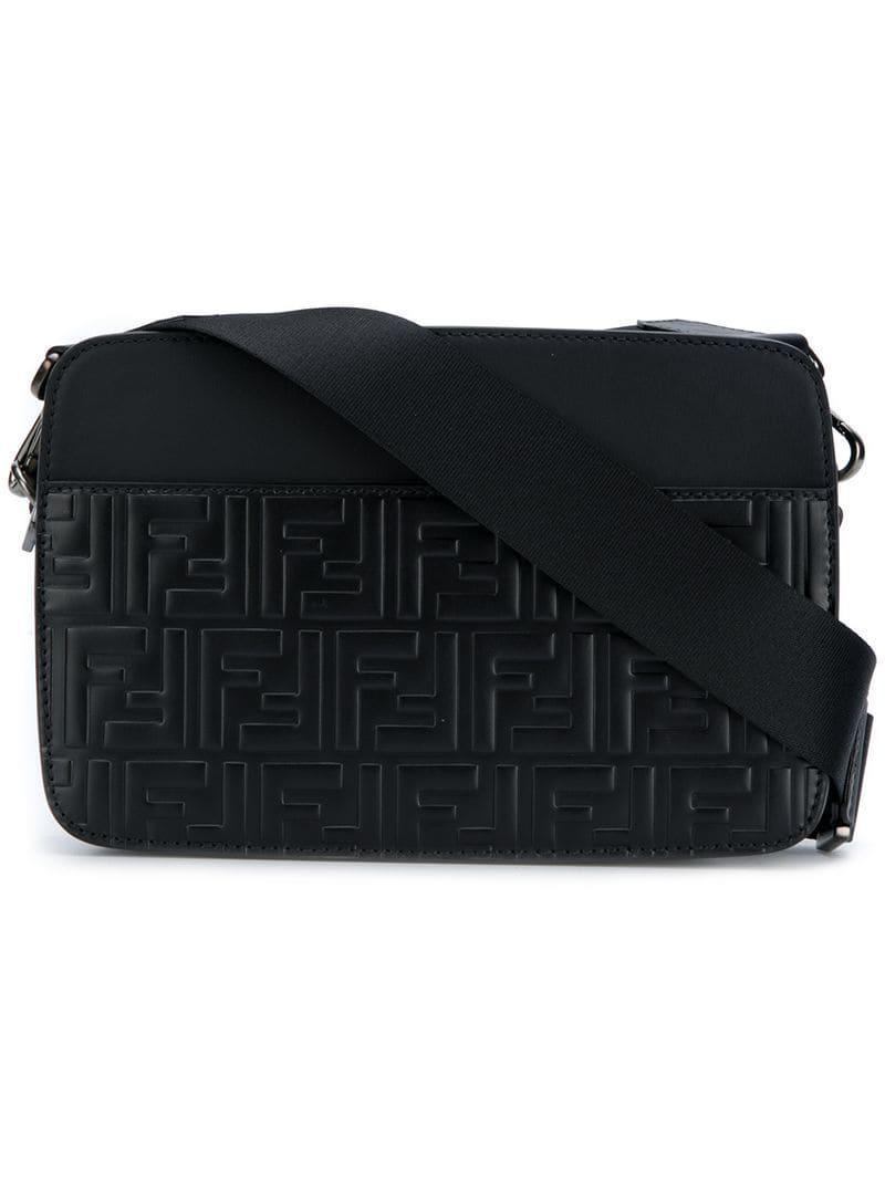 2caa1cc75c09 Fendi Front Logo Shoulder Bag in Black for Men - Lyst