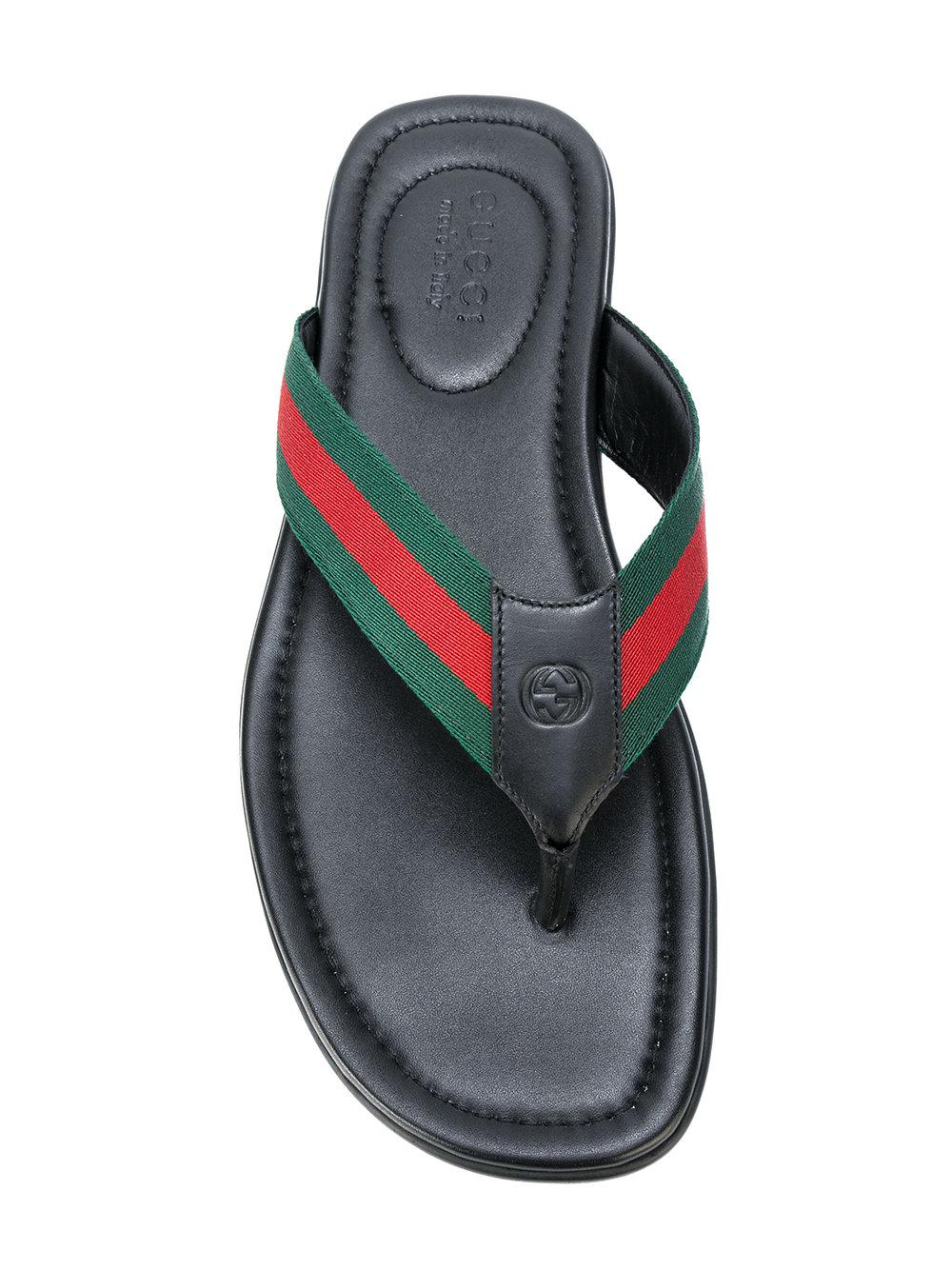 3c1d7564382fc1 Gucci Web And Leather Thong Sandal in Black for Men - Lyst