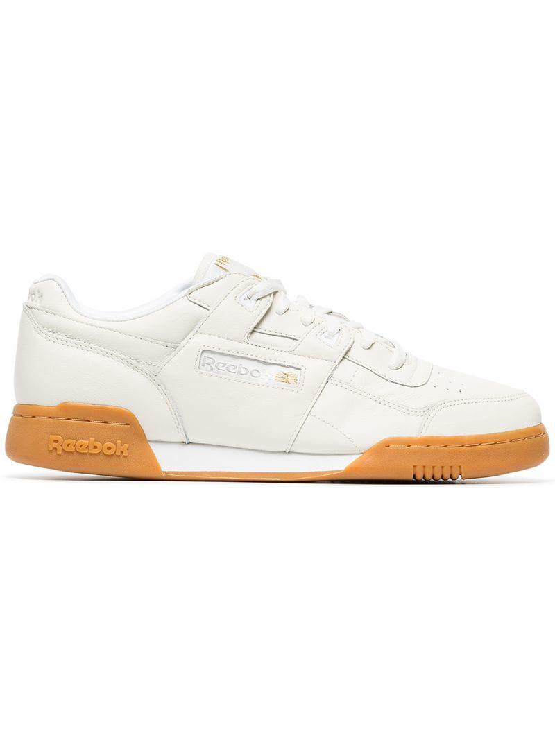 bbec97f60 Lyst - Reebok White Workout Plus Leather Sneakers in White for Men