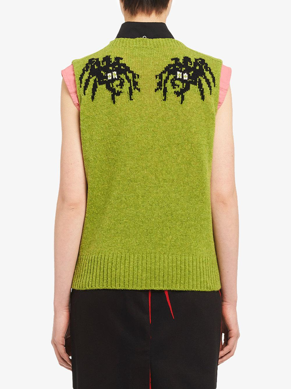 7f61f5fe0 Lyst - Prada Spider Intarsia Vest in Green