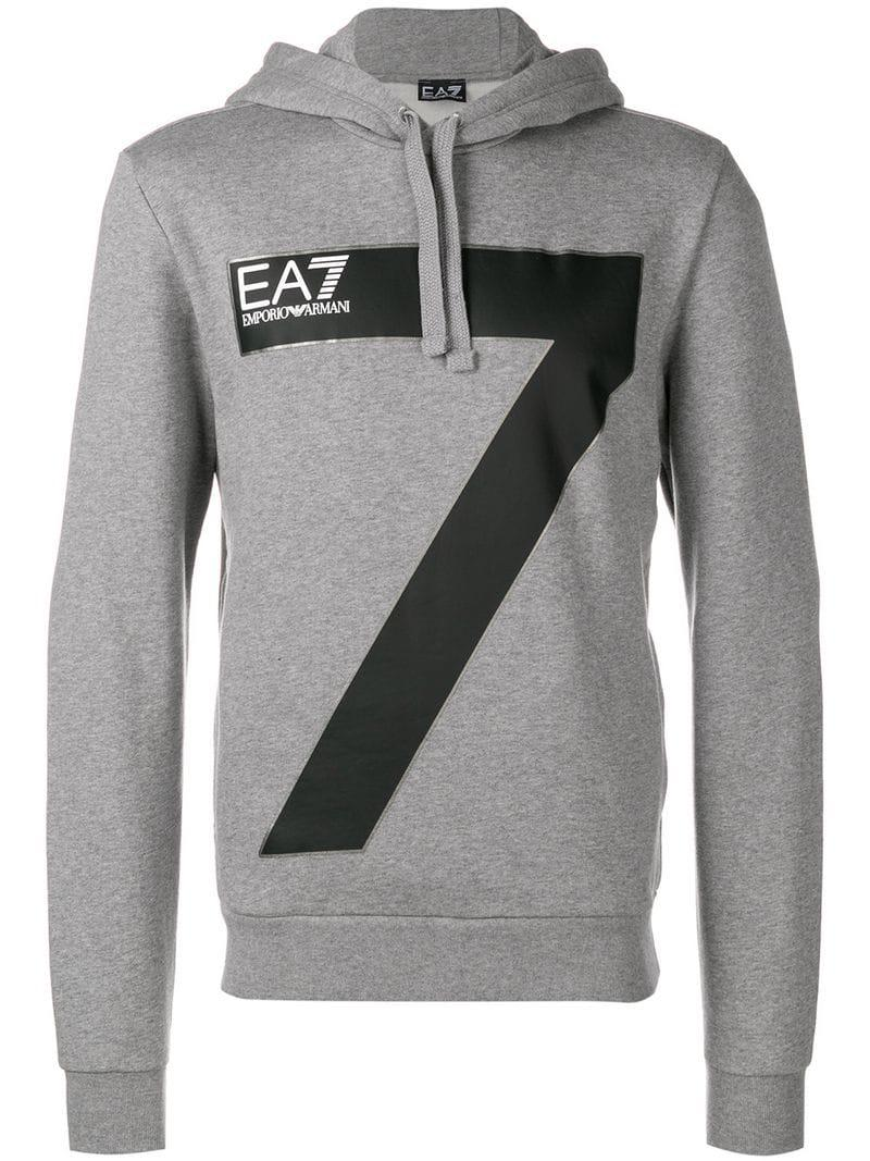 c2ce10fb909 Lyst - Ea7 Logo Print Hoodie in Gray for Men
