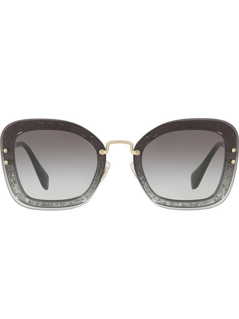 86c807a25f Miu Miu Oversized Glitter Sunglasses in Gray - Lyst