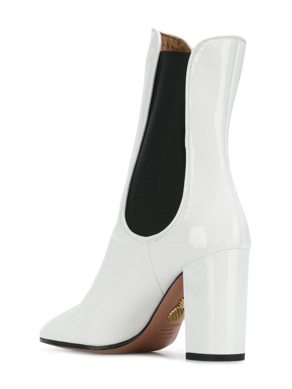 b7e54ff188d Aquazzura - White Mid-calf Block Heel Boots - Lyst. View fullscreen