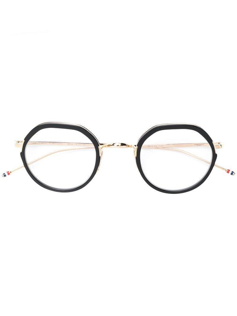bee25220f6a1 Thom Browne Round Frame Glasses in Metallic - Lyst