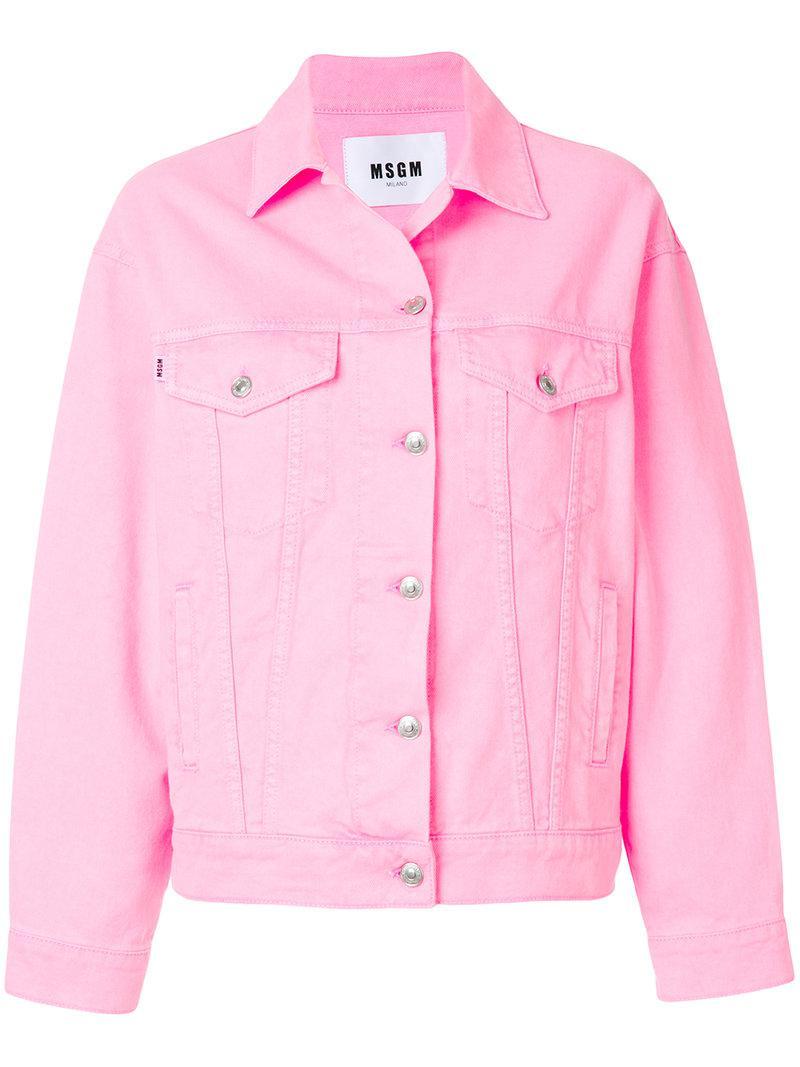 Lyst Msgm Denim Jacket In Pink