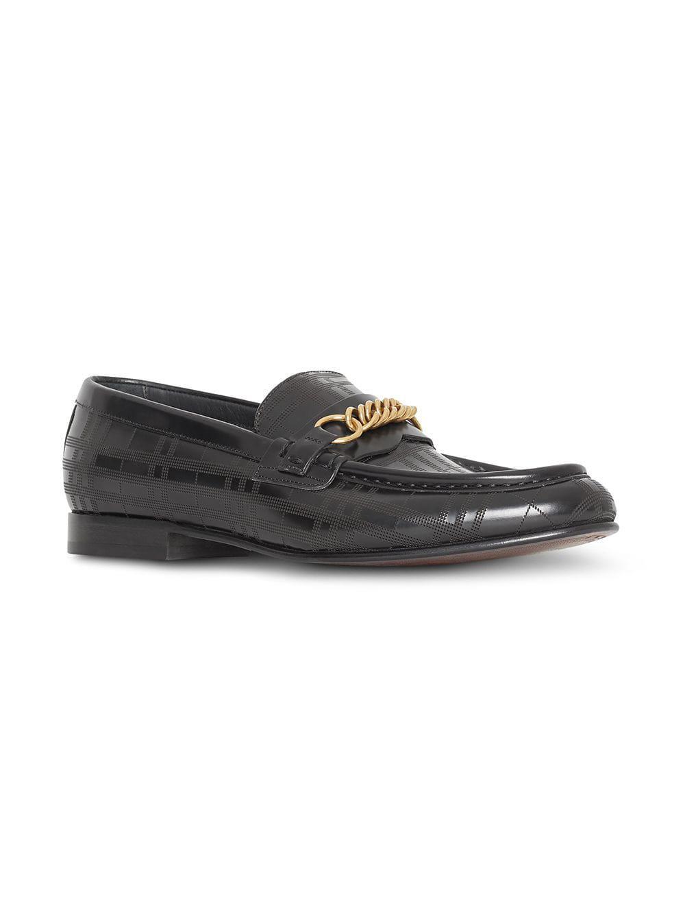 aebed859b91 Lyst - Burberry Perforated Link Loafers in Black for Men
