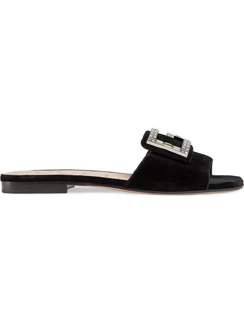 7502a09afa0 Lyst - Gucci Velvet Slide With Crystal G in Black