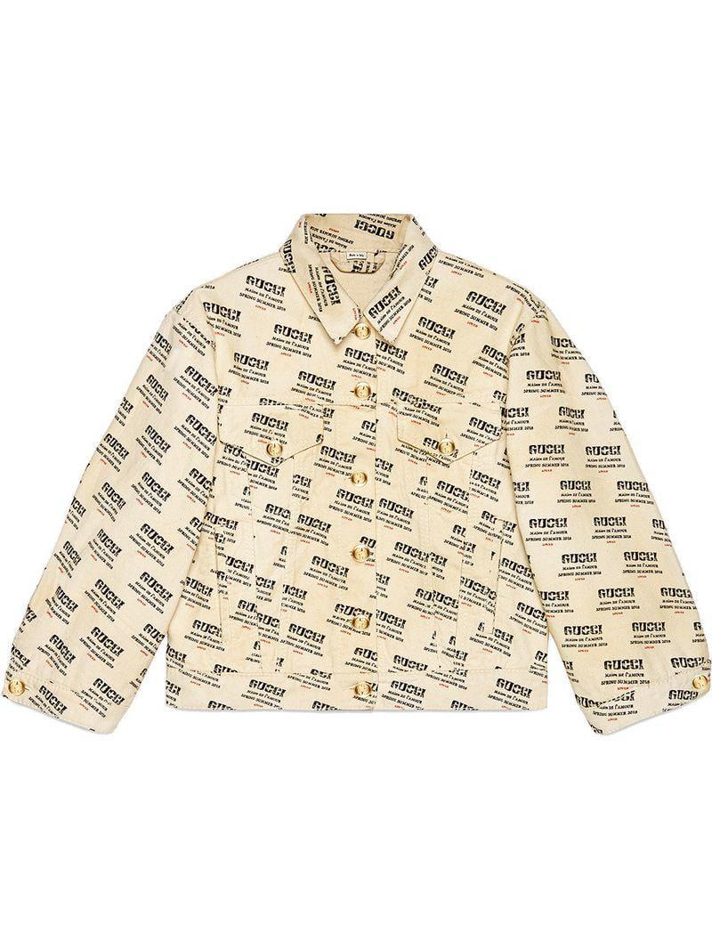 Lyst - Gucci Invite Stamp Denim Jacket in Natural b77625da1