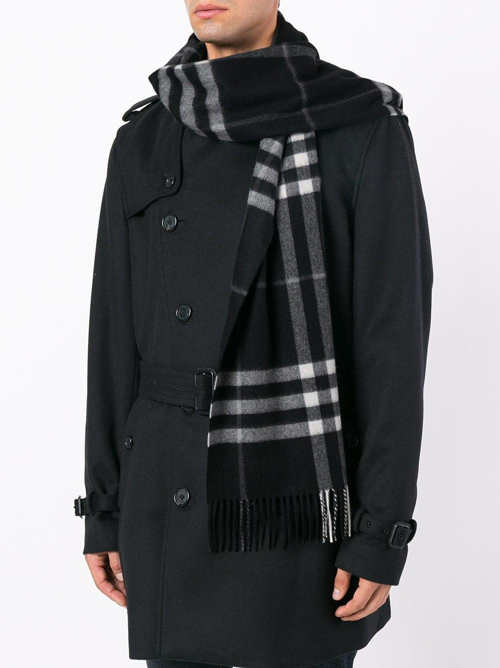 c1ba05cb4c66 Burberry - Black Fringed Checked Scarf for Men - Lyst. View fullscreen