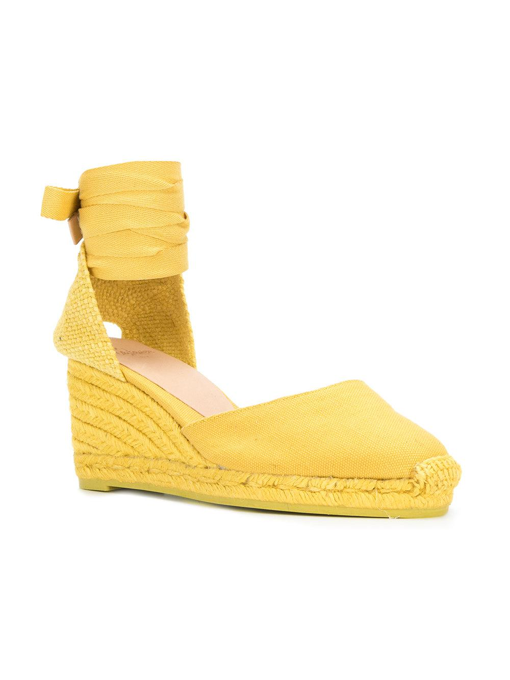 Castaner Cotton Carina Wedge Espadrilles In Yellow