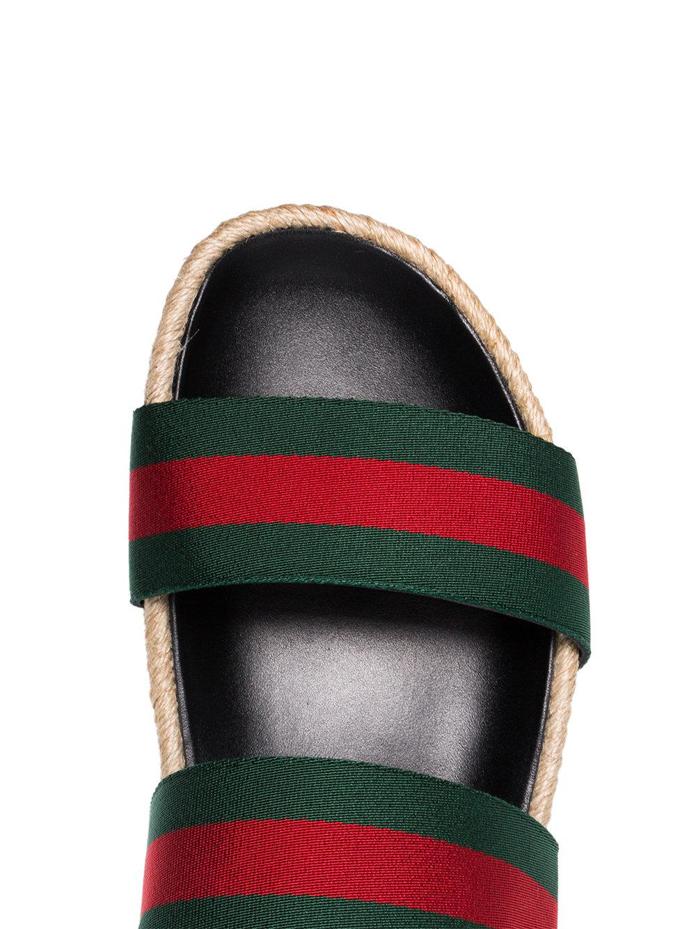 6a5ed2ab3eb Gucci - Green And Red Web Sandals for Men - Lyst. View fullscreen