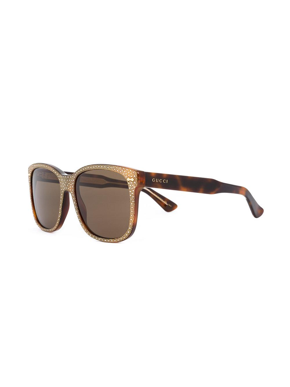 a352bface5a Gucci Square Frame Rhinestone Sunglasses in Brown - Lyst