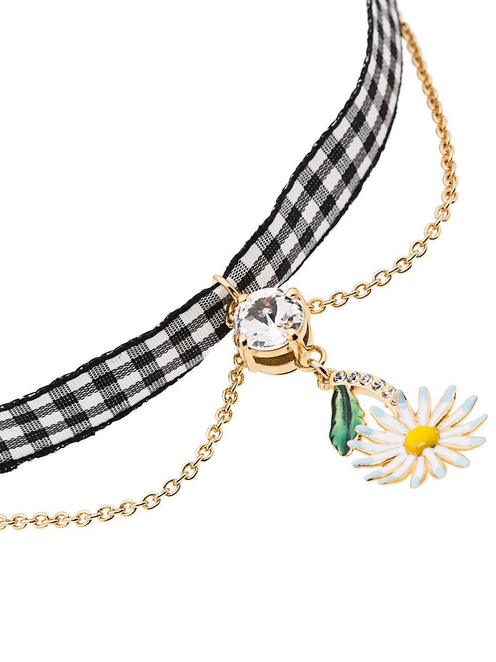 Multicolour Gingham Daisy Charm Crystal Necklace Miu Miu gRk8mWUfzJ
