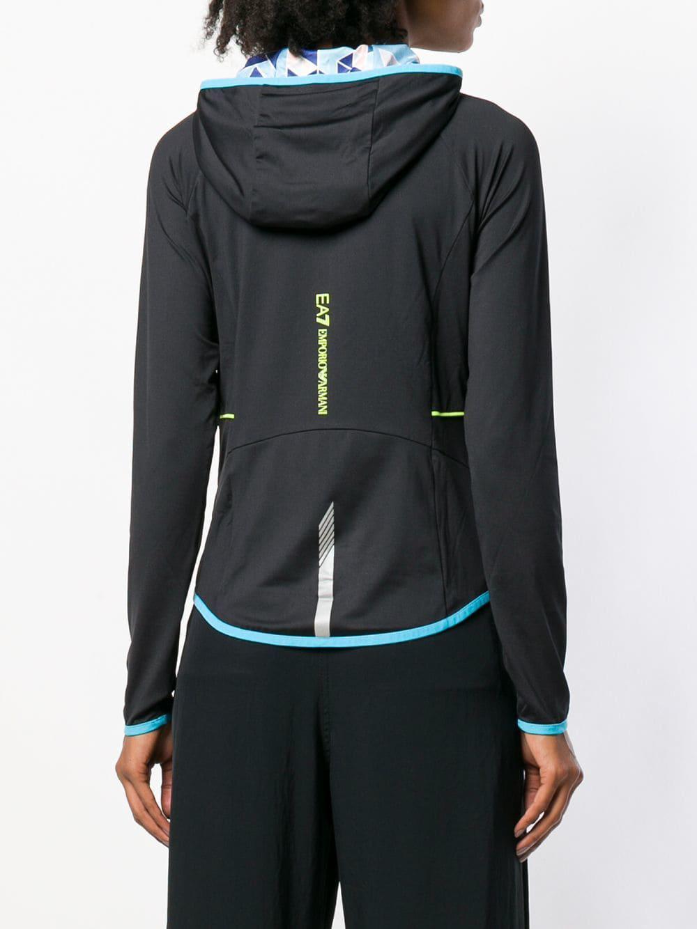 Lyst - Ea7 Hooded Zipped Cardigan in Black 0c62a539b2e