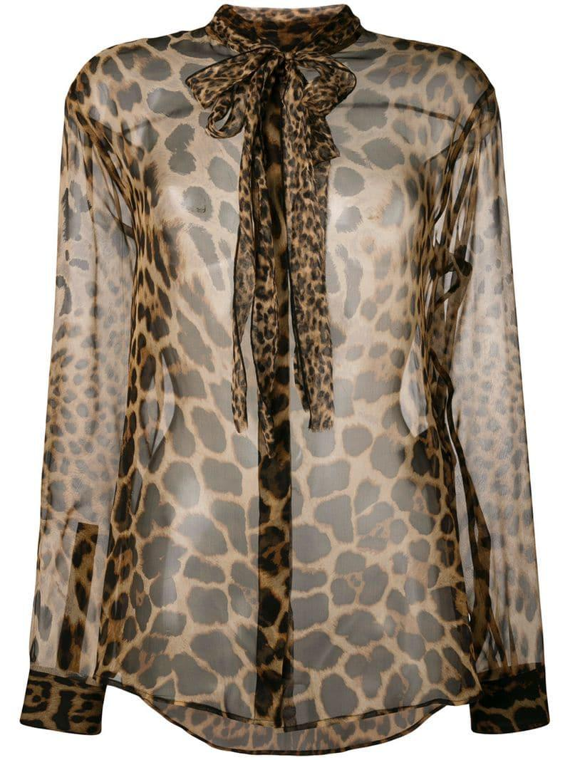 a2ec9a9d Lyst - Saint Laurent Leopard Print Pussy Bow Shirt in Brown