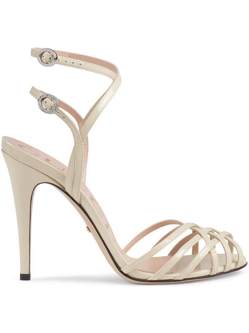 1404f4917f0 Gucci Patent Leather Sandals in White - Save 9% - Lyst