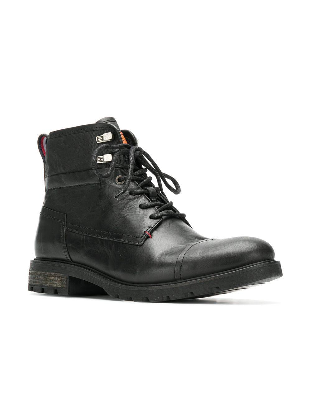 ce4f96856 Tommy Hilfiger Lace Up Ankle Boots in Black for Men - Lyst