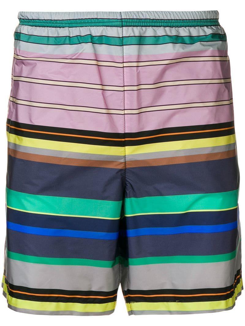 76c076adb5 Lyst - Prada Striped Swim Shorts in Pink for Men
