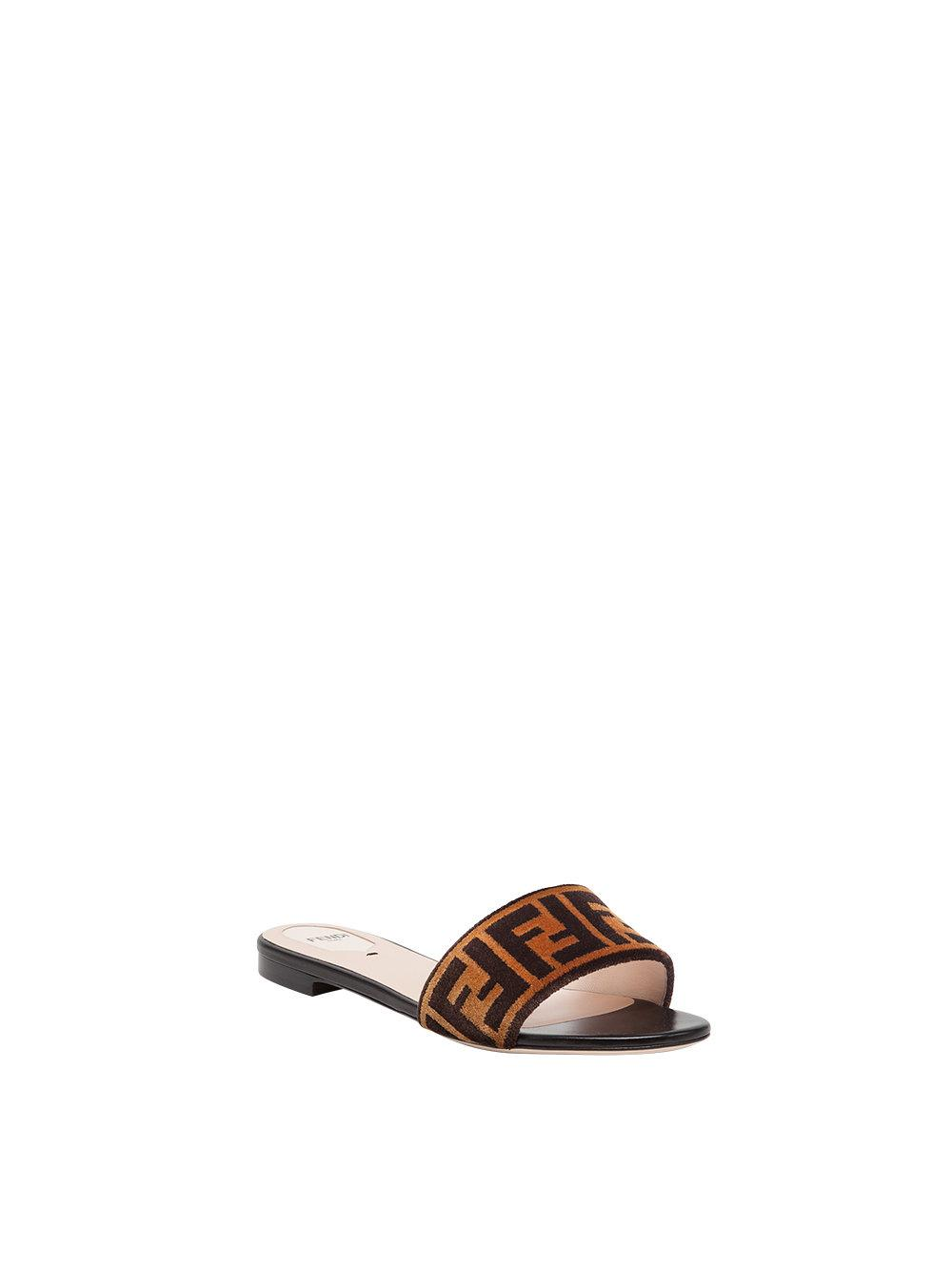 5260c70a302 Lyst - Fendi Open Toe Flat Sandals in Brown